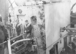 Monarch's radio compartment is riddled with splinter damage. Roger Litwiller Collection, courtesy Bruce Keir, RCNVR. (RTL-BK096)