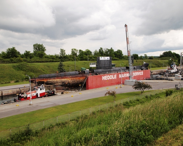 Florence M., OJIBWA and Lac Manitoba pass through the Iroquois lock on the St. Lawrence Seaway on 3 June 2012. Roger Litwiller Collection, courtesy Roger Litwiller. (RTL33805)