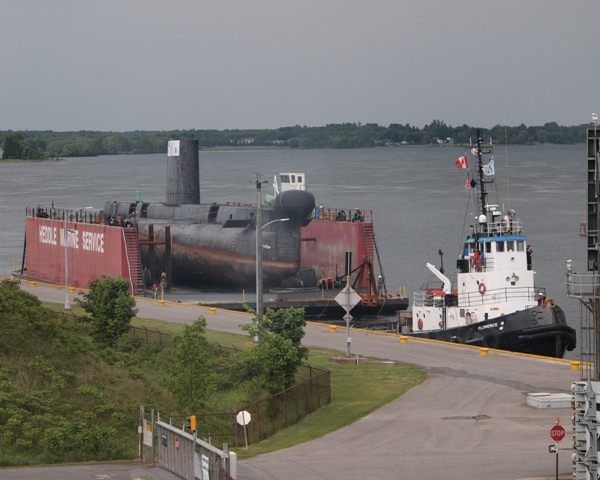 HMCS OJIBWA at Iroquois Lock