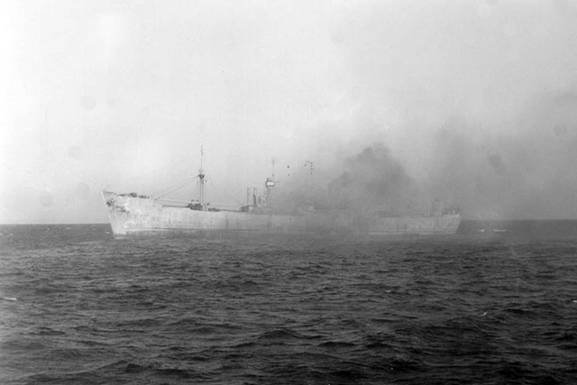 Merchant Ship on Fire