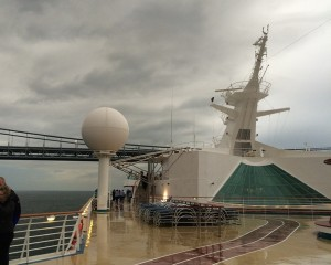 Explorer Of The Seas departing Newark on 1 Nov 2014, under grey skies, and rain.