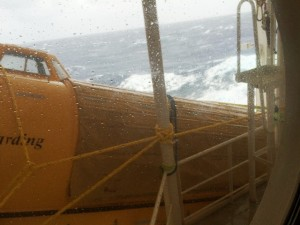 The rogue wave lifted one lifeboat off the davits and drove it into the deck head above.