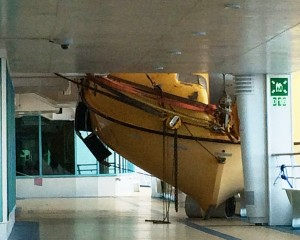 This massive lifeboat floated off the davits by the rogue wave and crashed onto the stanchions below.