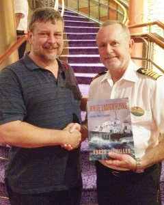 I wrote thre chapters of White Ensign Flying on our first voyage in Explorer, On our second trip I was honoured to present Captain Rick Sullivan with a copy of the finished book.