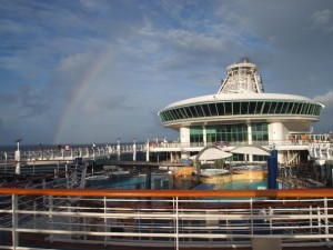 A bright rainbow over Explorer Of The Seas as the remainder of the voyage was filled with calms seas and fair winds.
