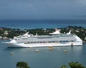 Explorer Of The Seas later in the cruise in St. Lucia, with her crew performing lifeboat drills with the remaining boats.