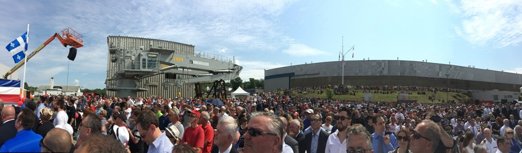 Very large crowd gathered at Davie Shipyard for christening of MV Asterix, 20 July 2017. Roger Ltwiller Collection, courtesy Roger Litwiller. (IMG_2997)