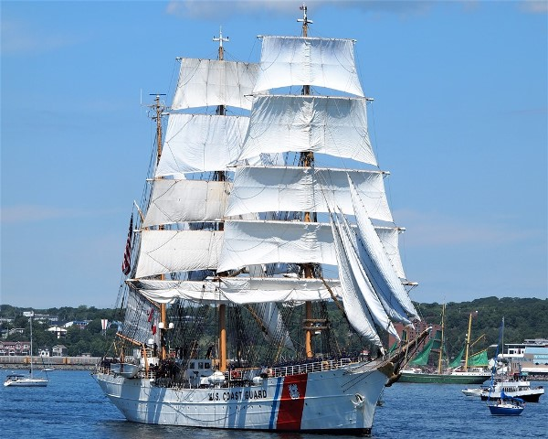 With all sails hoisted, USCGS EAGLE approaches the Reviewing Stand beside HMCS SACKVILLE during the Parade of Sail in Halifax, NS  on 1 August 2017.  Unfortunately the direction of the wind is backing the sails.  EAGLE is in Halifax for Tall Ships Rendezvous 2017. Roger Litwiller Collection, courtesy Roger Litwiller. (RTL13992)