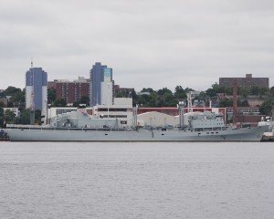 HMCS PRESERVER the last of the RCN's AOR's spent her last years as a depot ship alongside, unable to go to sea due to age and defects. Roger Litwiller Photo.