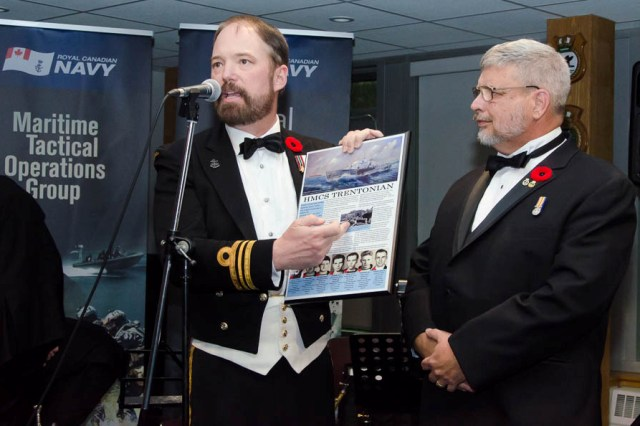 At the 2017 HMCS CATARAQUI Naval Ball on 3 November Roger presented a historical plaque on HMCS TRENTONIAN to the Naval Reserve Unit to be displayed with the exceptional model of the RCN Corvette. Photos courtesy Brian T. Lee -DND Photographer.
