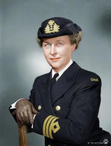 Commander Adelaide Sinclair, Director of the Women's Royal Canadian Naval Service. Photo: Lt Gerald M. Moses / Canada. Dept. of National Defence / Library and Archives Canada / PA-191176. Colourization by JabbaLeChat.