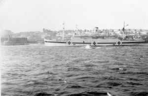 The Canadian hospital ship Lady Nelson leaving Cherbourg Harbour, October/November 1944. Roger Litwiller Collection, courtesy Douglas Campbell, RCNVR. (RTL-DC040)