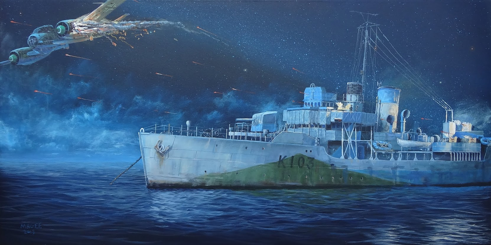 HMCS ALBERNI shooting down a German Junkers 88 aircraft, that was attacking the corvette off the coast of France on 26 July 1944. Painting by Marc Magee.