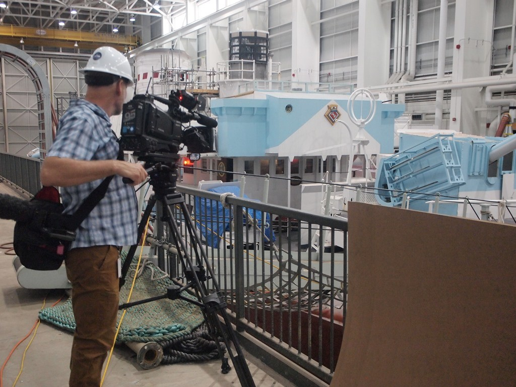 CBC News had a team in the repair facility, reporting on the progress of the multi-million dollar refit. HMCS SACKVILLE in the Fleet Maintennce Facilty, Cape Scott in HMC Dockyard in Halifax on 30 Septemebr 2018. Roger Litwiller Collection, courtesy Roger Litwiller. (RTL08924)