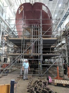 Yep, That's me standing under SACKVILLE's stern. She is big! Photo courtesy of my son-in-law Shawn Greene.